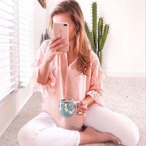 LOFT pink and metallic gold blouse